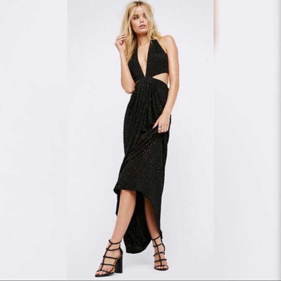2960a1cf0687a Free People Dresses | Black Midnight Hour Beaded Maxi Dress | Poshmark